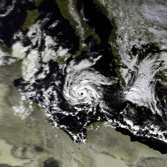 This image shows a cyclone in the Mediterranean Sea on January 16, 1995 at 1004 UTC. This image was produced from data from NOAA-14, provided by NOAA.